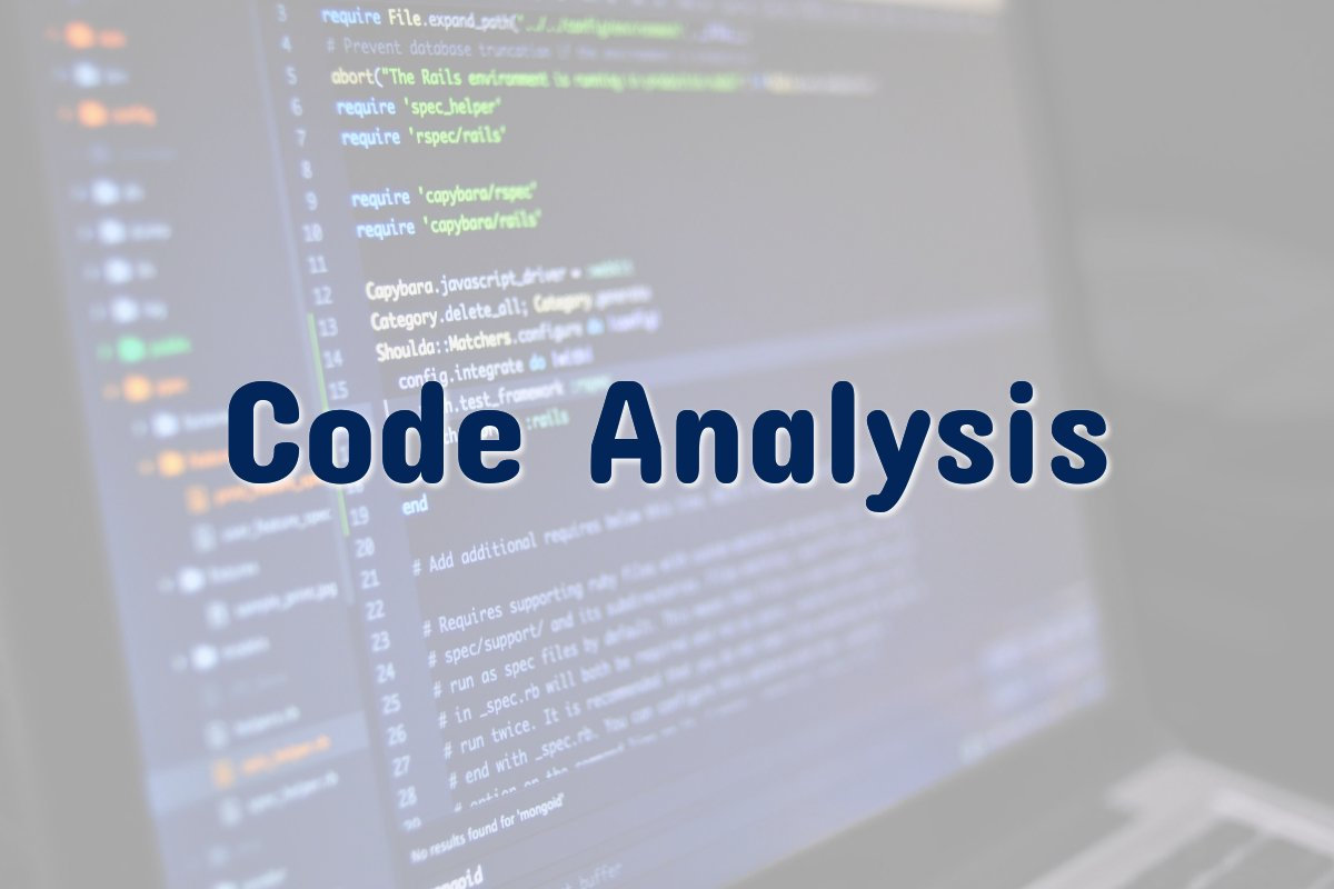 Source code with code analysis text