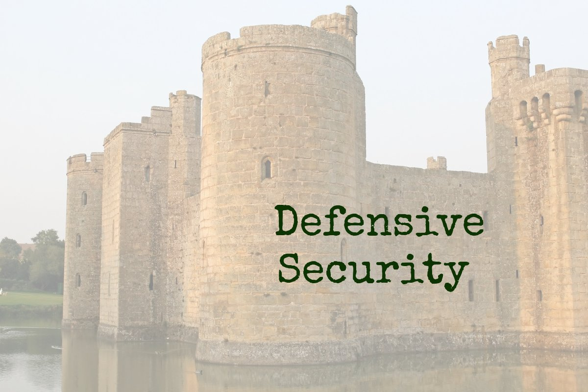 Image of tower with text about defensive security